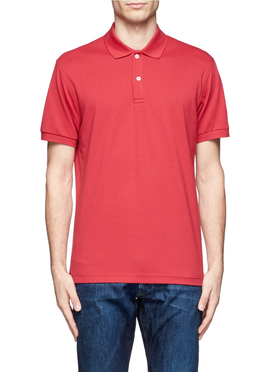 Lyst Sunspel Cotton Polo Shirt In Red For Men