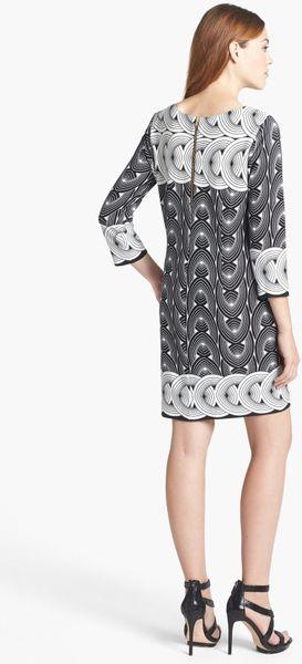 Taylor Dresses Print Ponte Knit Shift Dress In Black