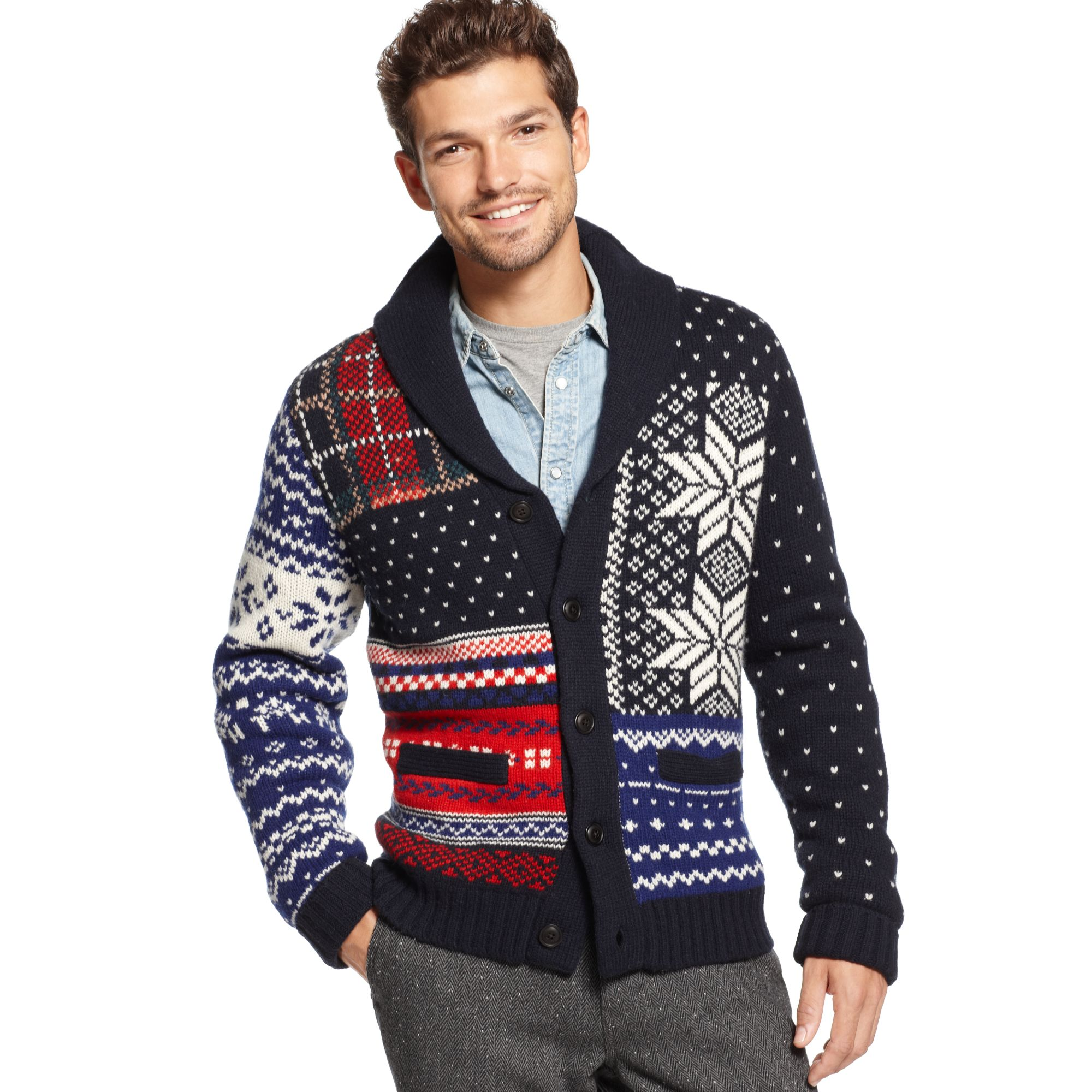Tommy hilfiger Pelham Fair Isle Shawl Collar Sweater for Men | Lyst