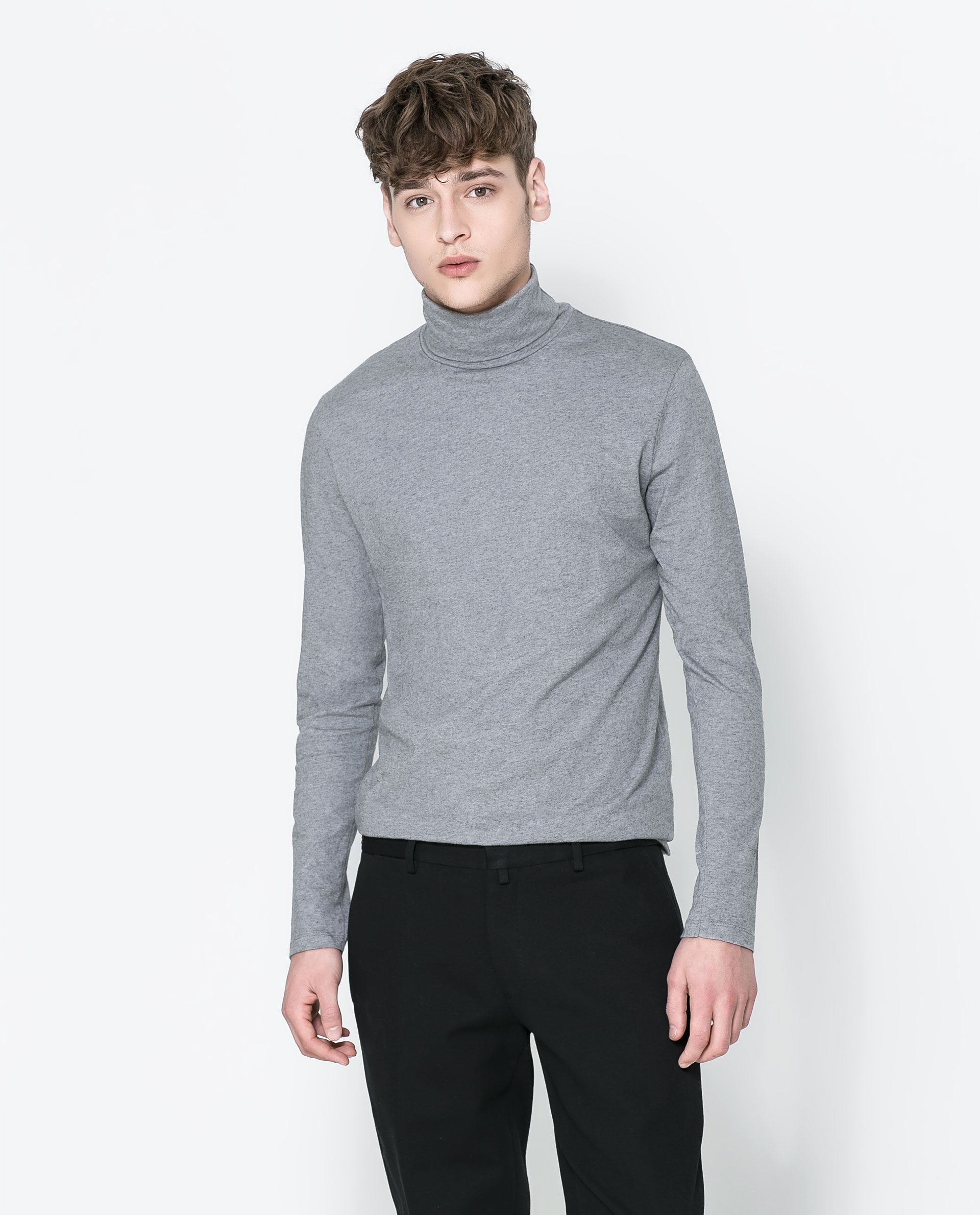 Zara turtleneck tshirt in gray for men lyst for Turtle shirts for men