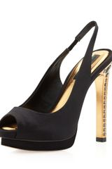 BCBGMAXAZRIA Ramsey Jeweled-Heel Slingback Peep-Toe Pump In Black - Lyst