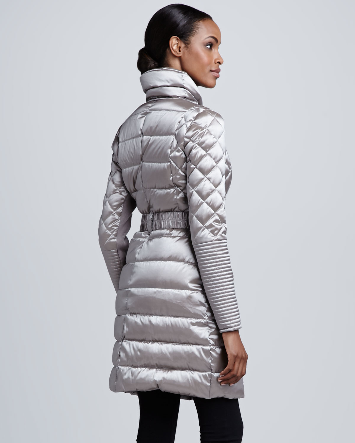 Lyst Bcbgmaxazria Metallic Belted Puffer Coat In Gray
