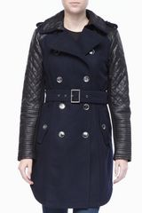 BCBGMAXAZRIA Trench Coat with Leather Sleeves - Lyst