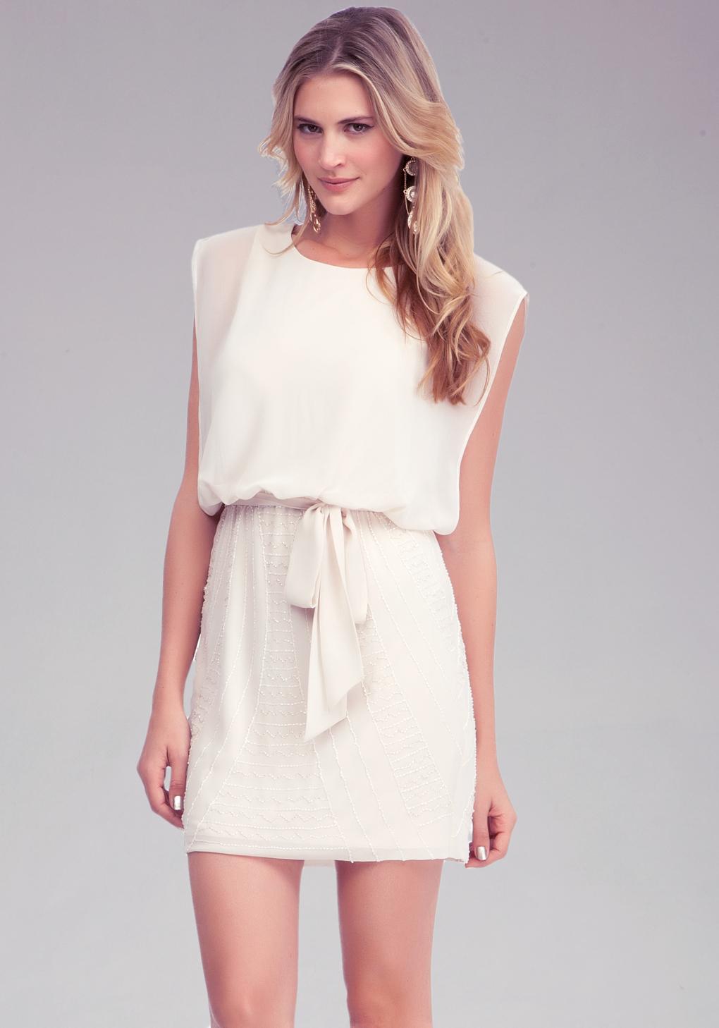 Bebe Sheer Top Beaded Skirt Dress Online Exclusive In