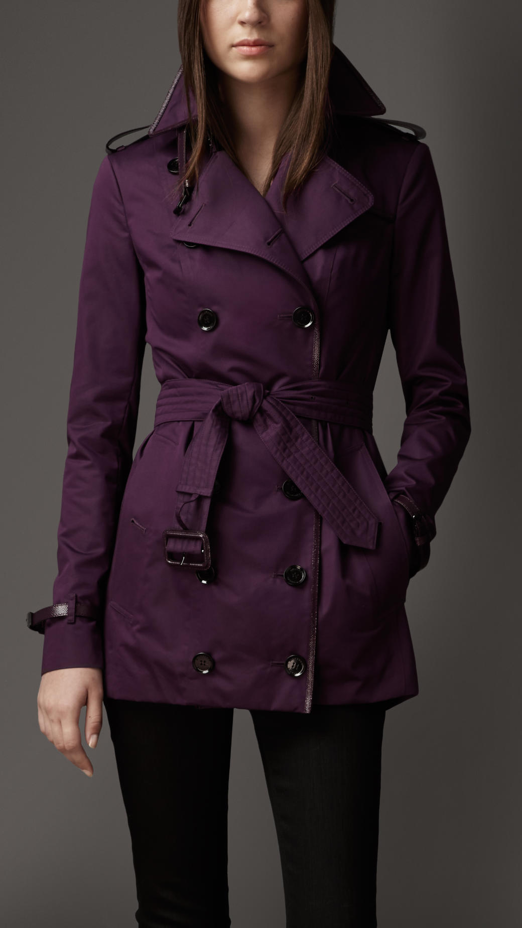 Burberry Short Leather Detail Sateen Trench Coat In Purple