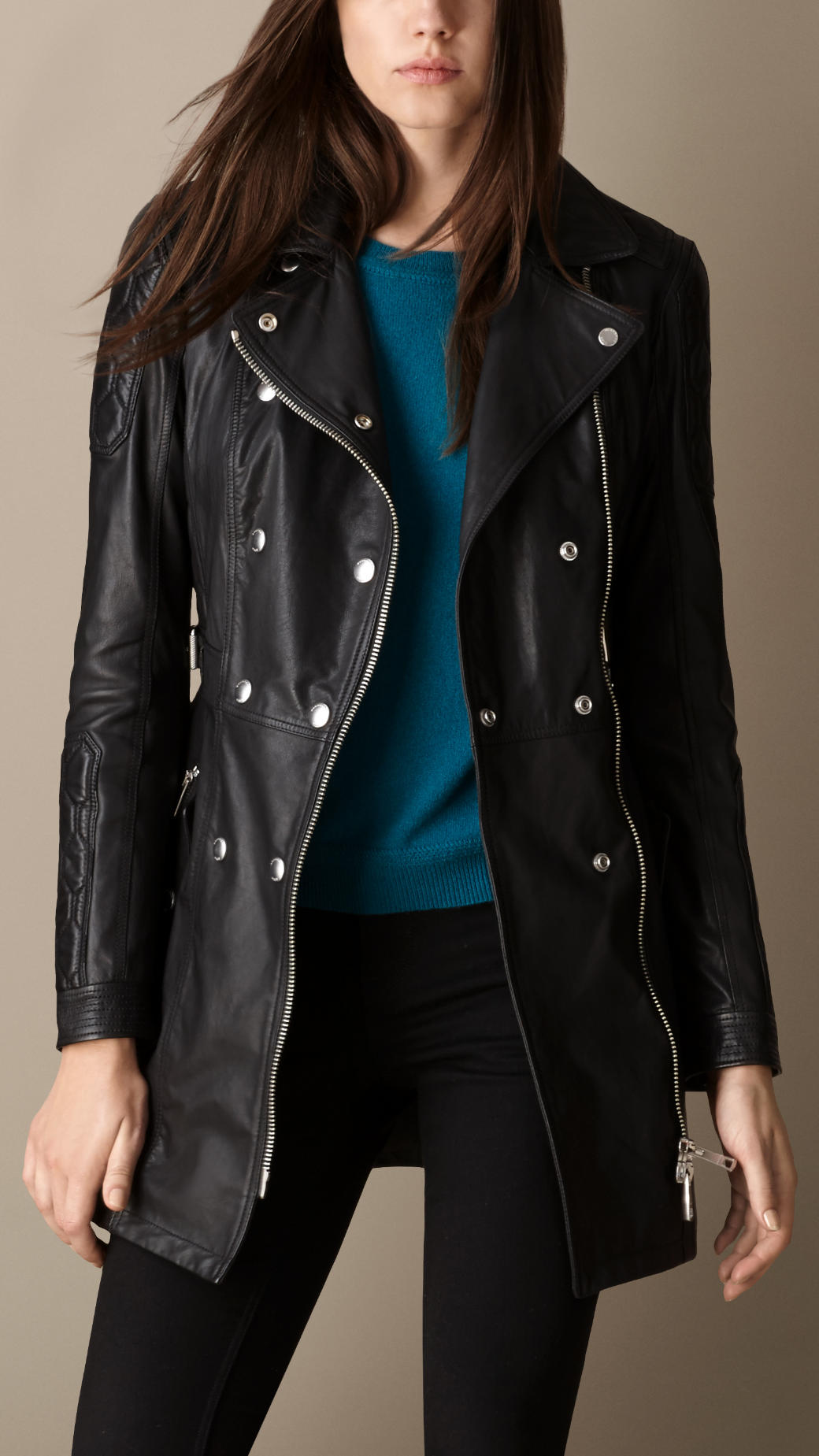 Lyst Burberry Leather Biker Trench Coat In Black