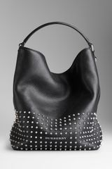Burberry Medium Studded Leather Hobo Bag - Lyst