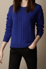 Burberry Merino Wool Cable Knit Sweater - Lyst
