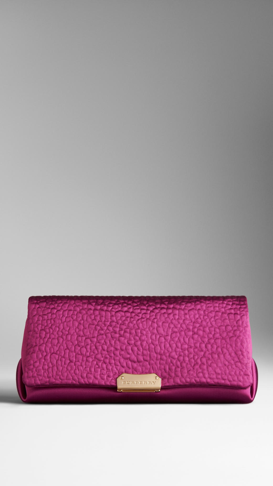 Lyst - Burberry Heritage Grain Satin Clutch Bag In Purple
