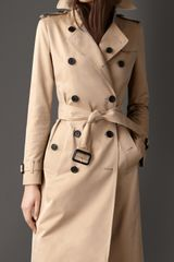 Burberry Long Cotton Gabardine Trench Coat - Lyst