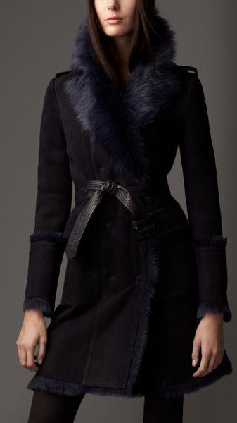 burberry revere collar shearling coat in blue light navy. Black Bedroom Furniture Sets. Home Design Ideas