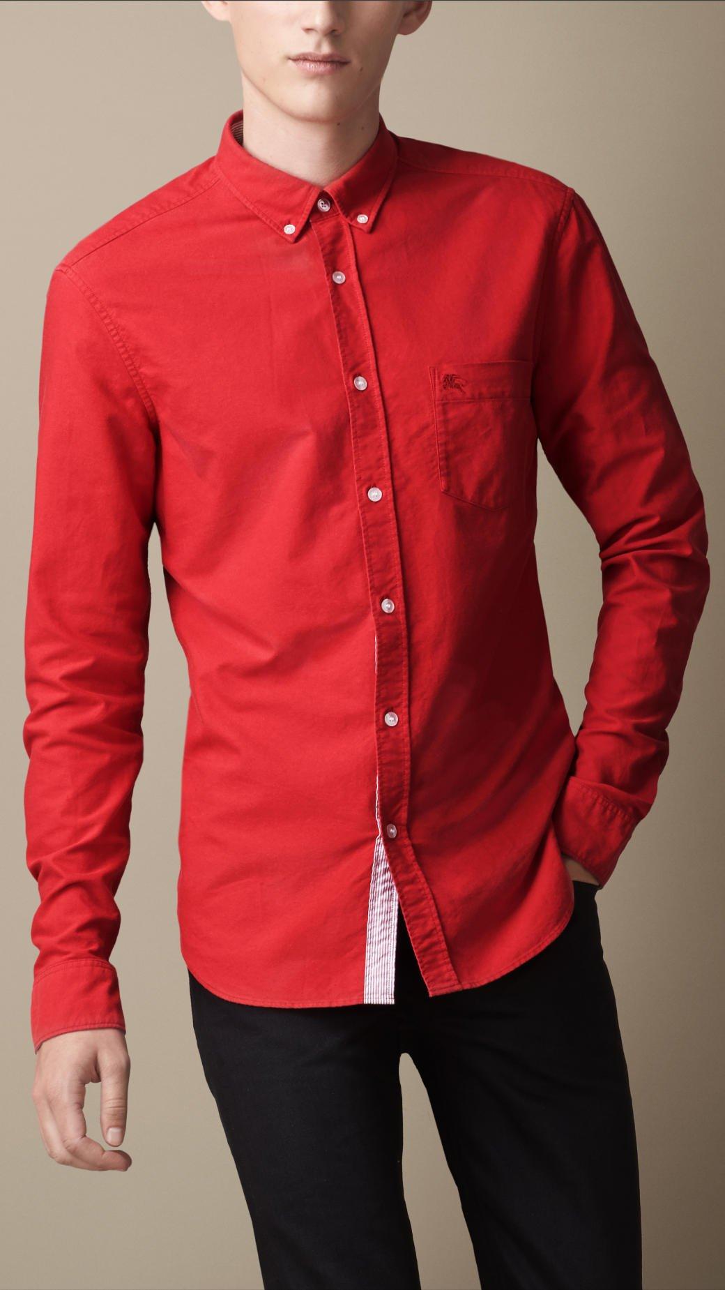 Burberry Buttondown Collar Cotton Shirt In Red For Men Lyst