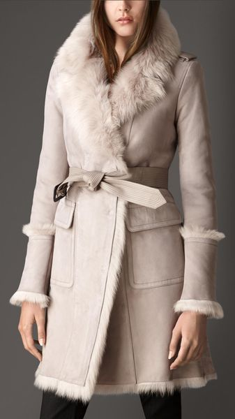 Burberry Revere Collar Lambskin Shearling Coat - Lyst