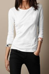 Burberry Check Cuff Stretch Cotton Top - Lyst
