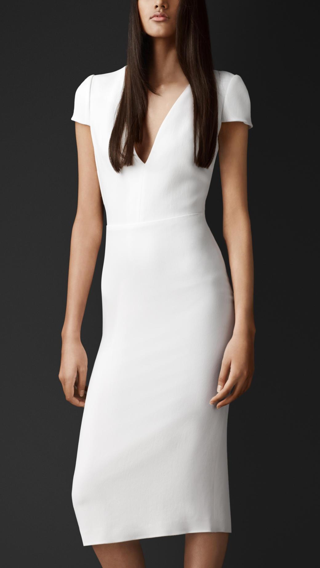 Burberry Geometric Cutout Crêpe Dress in White - Lyst