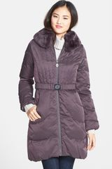 Elie Tahari Corey Genuine Rabbit Fur Trim Belted Down Coat - Lyst