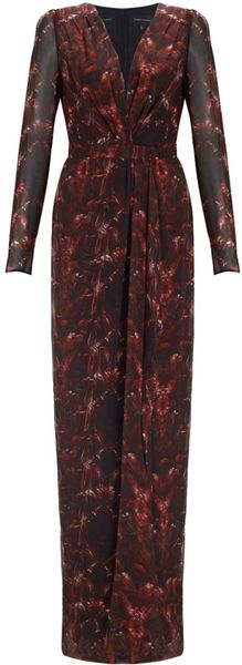Felder Felder Red Feather Georgette Bella Dress - Lyst