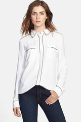 Halogen Piped Long Sleeve Blouse - Lyst