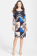Ivanka Trump Print Jersey Shift Dress - Lyst