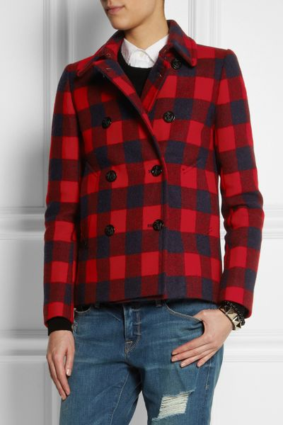 J Crew Buffalo Plaid Wool Peacoat In Red Lyst