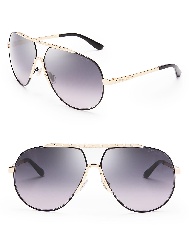 Jimmy Choo Benny Aviator Sunglasses In Black Lyst