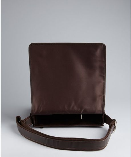 Longchamp Dark Brown Pebbled Leather Horizontal Crossbody