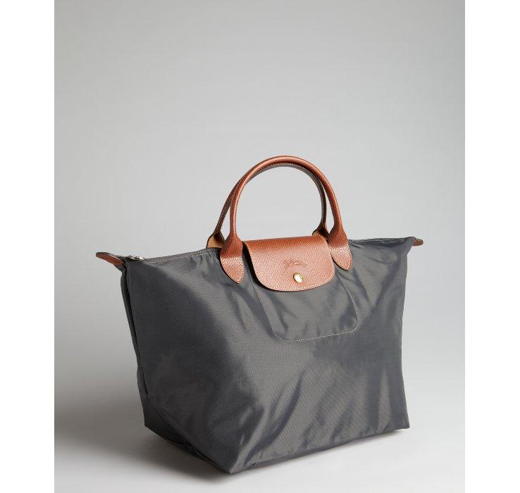 longchamp dark grey nylon le pliage medium folding tote in. Black Bedroom Furniture Sets. Home Design Ideas