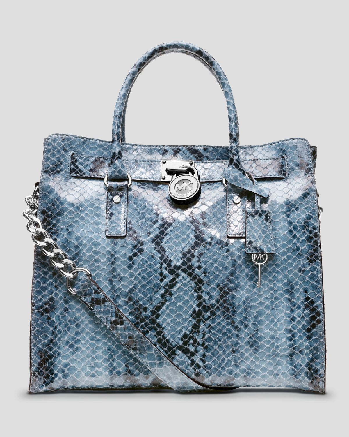 a61f6ec7728 Lyst - MICHAEL Michael Kors Tote Hamilton Large North South Python ...