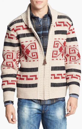 Pendleton Westerly Shawl Collar Lambswool Cardigan - Lyst