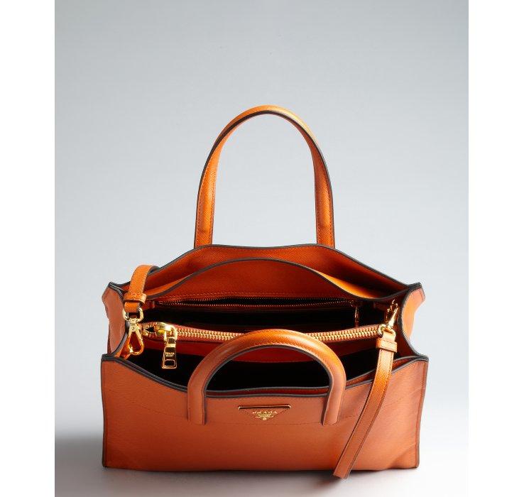 Prada Papaya Saffiano Leather Logo Convertible Tote in Orange ...