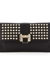 Rebecca Minkoff Coco Studded Flap Clutch Bag Black - Lyst
