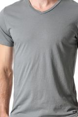 Save Khaki Short Sleeve V Neck Tshirt - Lyst