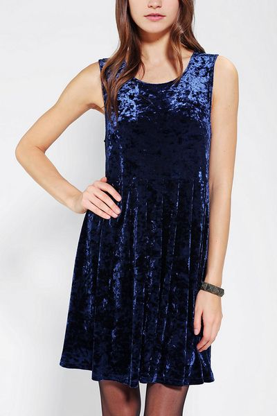 Urban Outfitters Velvet Babydoll Dress In Blue Lyst