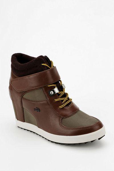 Urban Outfitters Lacoste Berdine Hidden Wedge Hightop Sneaker in Brown | Lyst