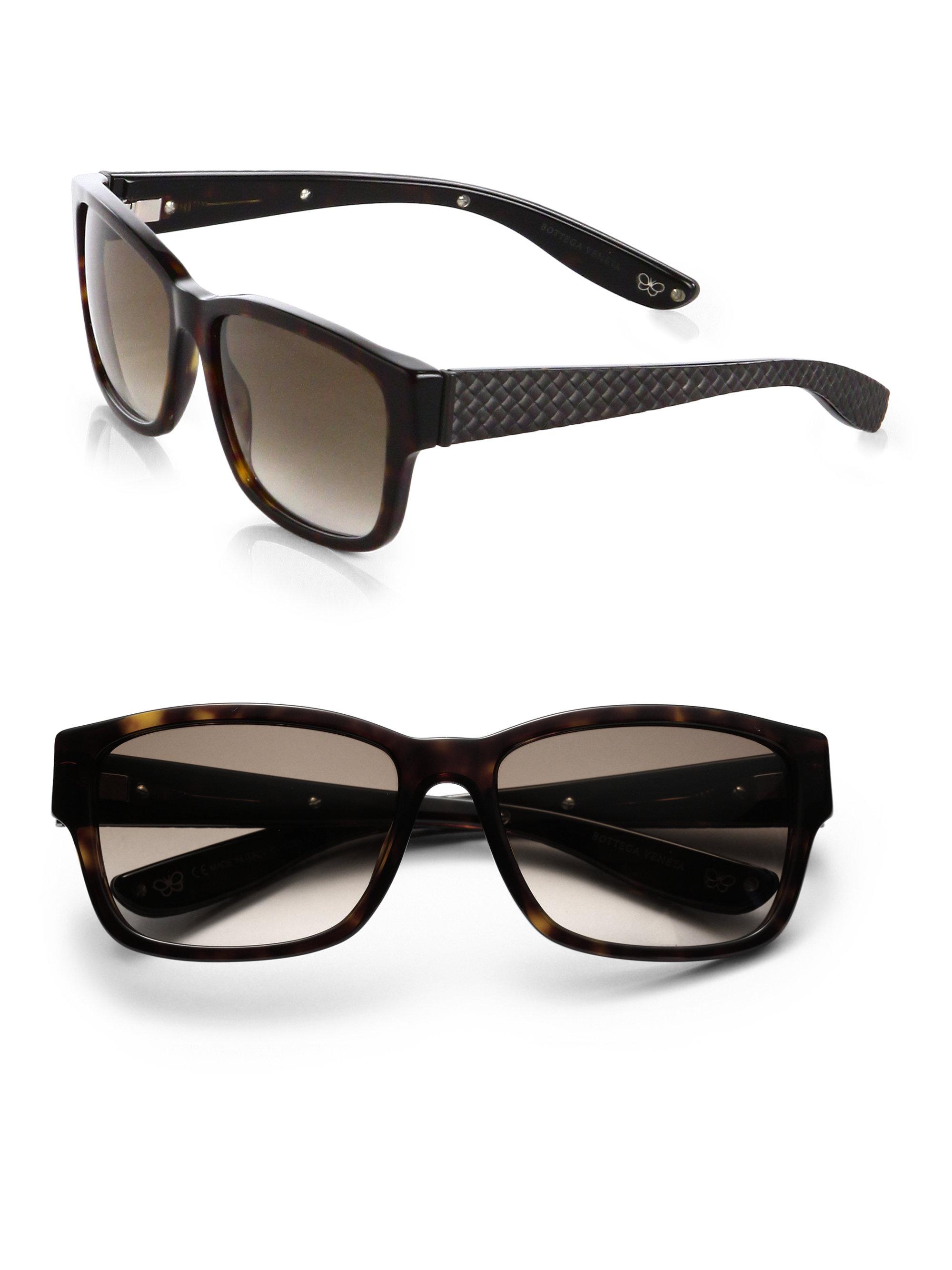 77bb1b27c6d0 Lyst - Bottega Veneta Acetate Woven Sunglasses in Brown for Men Bottega  Veneta BV0095S 002 Black Metal Frame ...