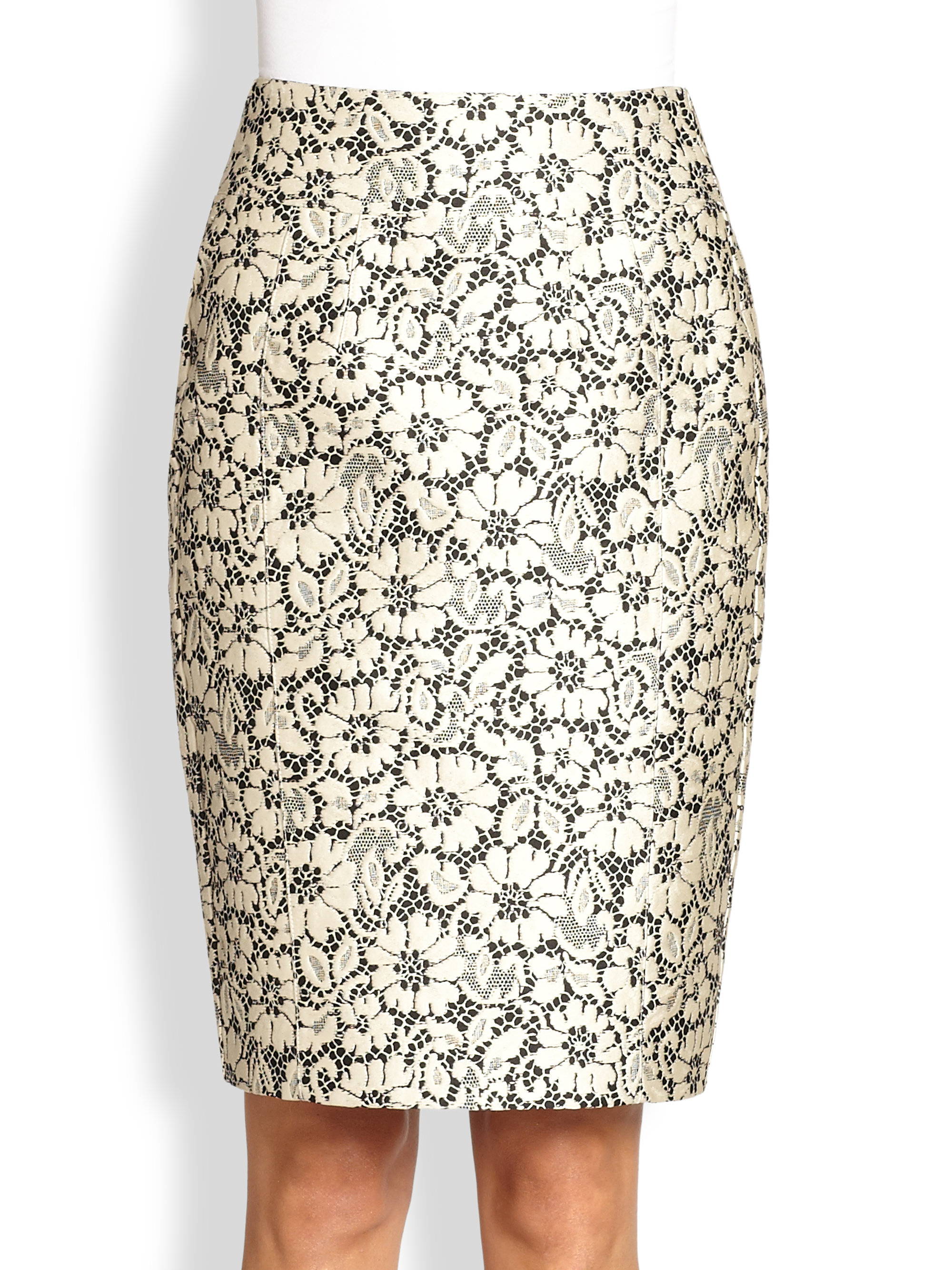 Burberry Brocade Lace Pencil Skirt in White | Lyst