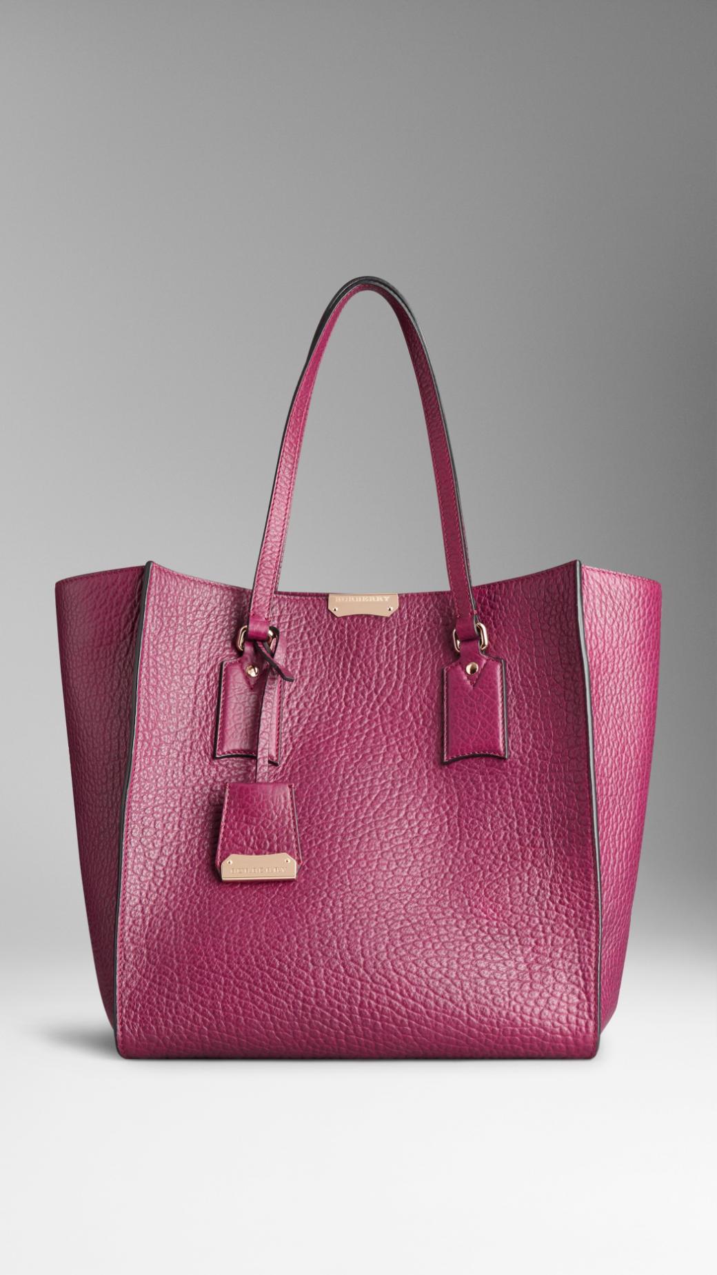 b3cdd7710b38 Lyst - Burberry Medium Heritage Grain Leather Tote Bag in Pink