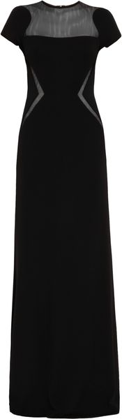 Elie Saab Sheer Panel Round Neck Short Sleeve  Gown - Lyst