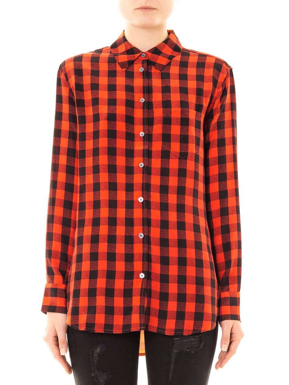 f9d3fb60f66b3c Lyst - Equipment Reese Plaid Silk Shirt in Red