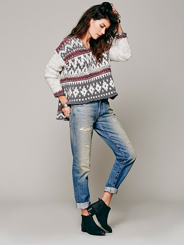 Free people Fairisle Hooded Pullover in Gray | Lyst