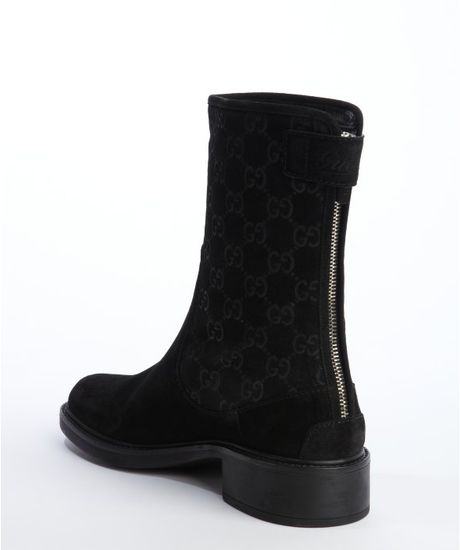 gucci black suede ssima back zip ankle boots in black lyst