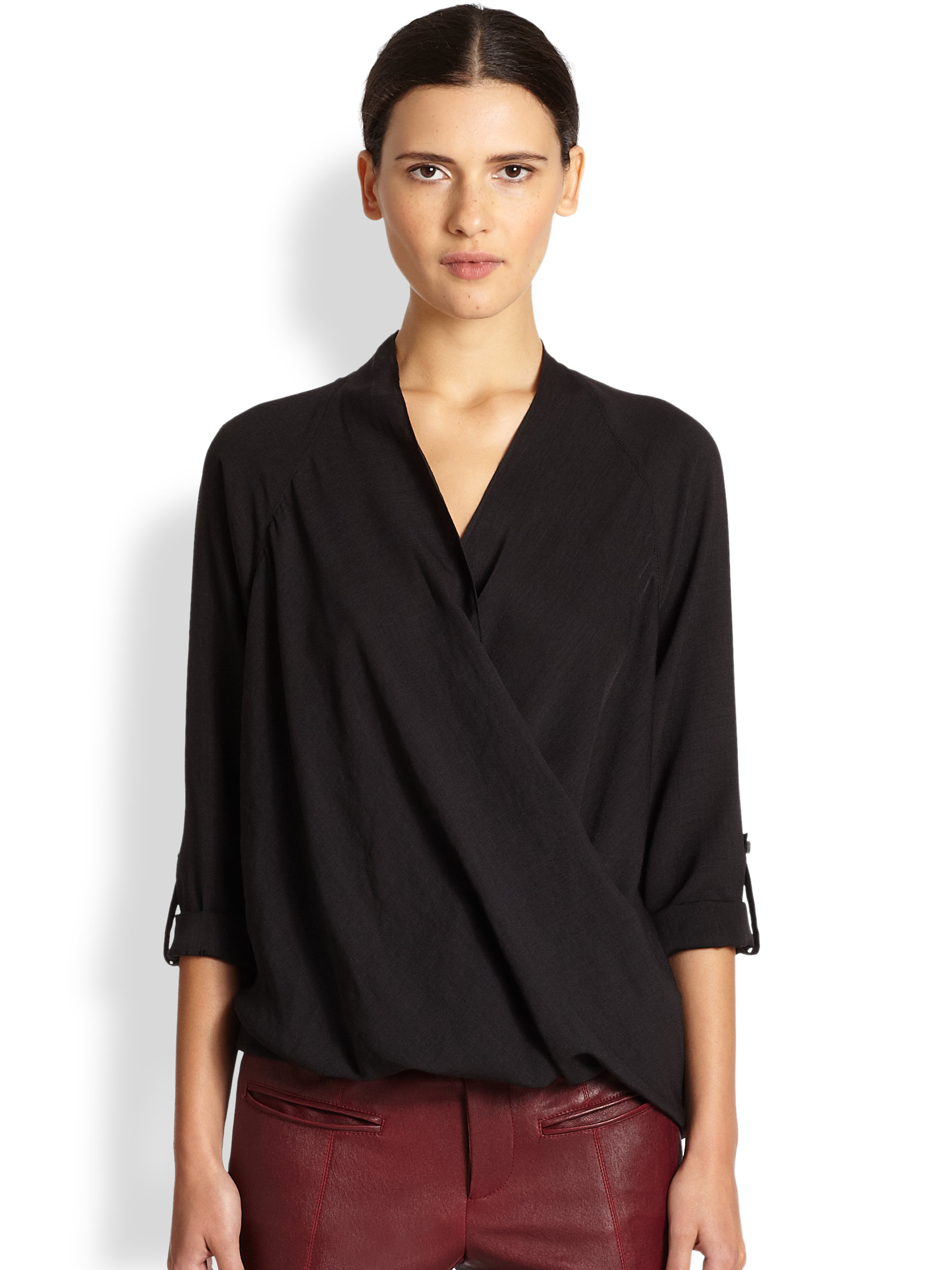 471c8860b74984 Lyst - Helmut Lang Render Draped Wrapeffect Blouse in Black