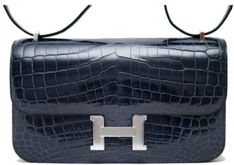 Hermes 25cm Blue Abysse Shiny Crocodile Constance Élan with Palladium - Lyst