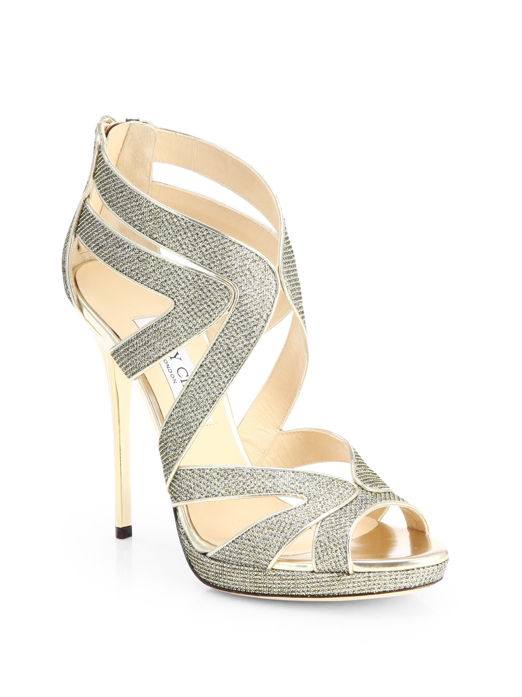 728c62cc80b2 Lyst - Jimmy Choo Collar Glitter Lame Platform Sandals in Metallic