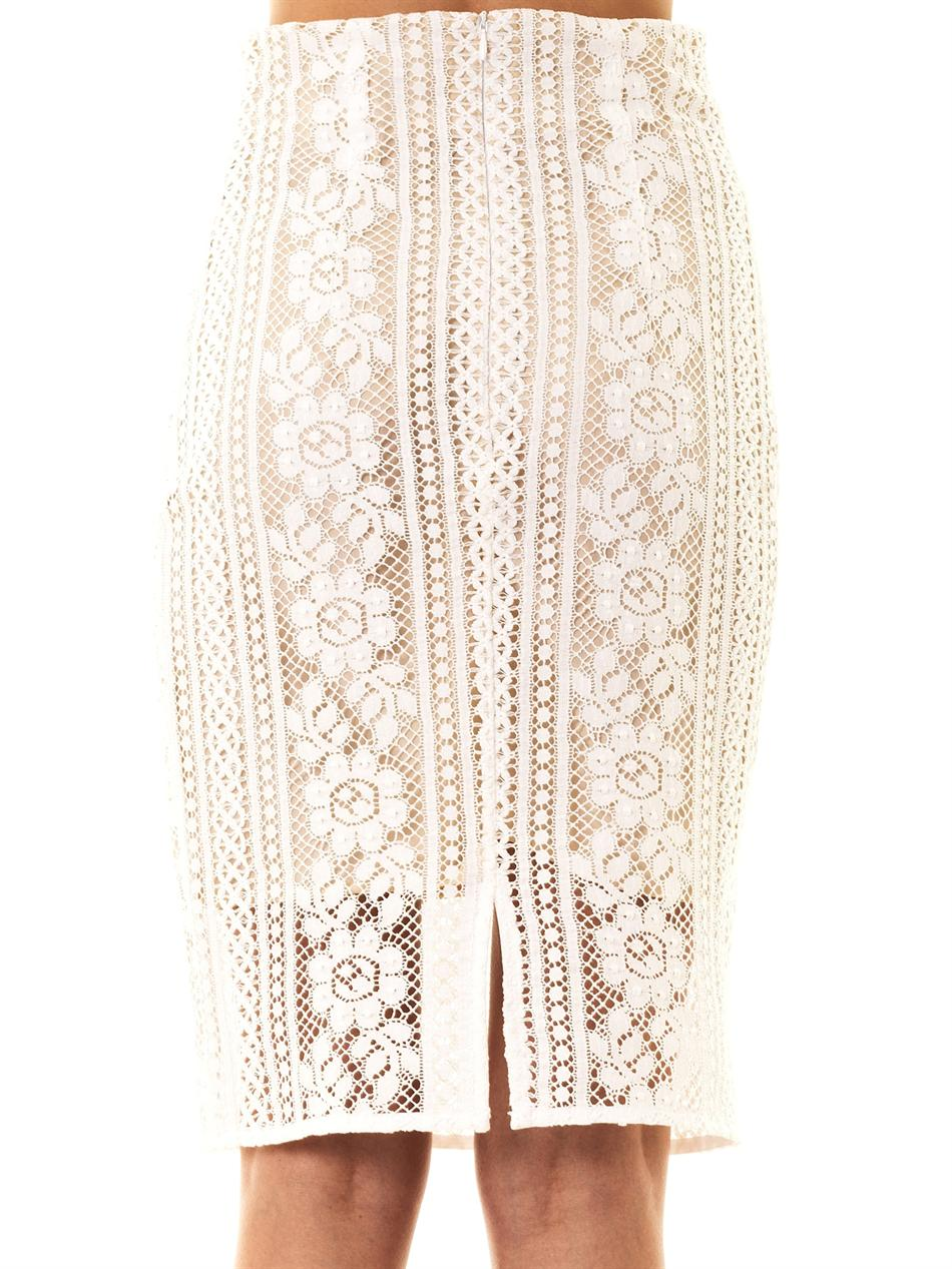 Lover Valentine Lace Pencil Skirt in White | Lyst