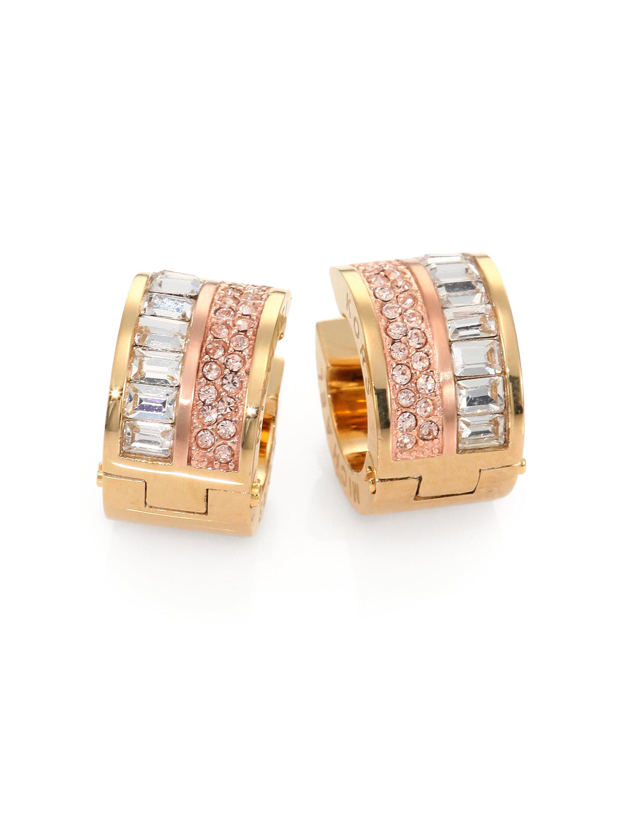34203352816a Lyst - Michael Kors Baguette Pave Twotone Huggie Earrings in Metallic