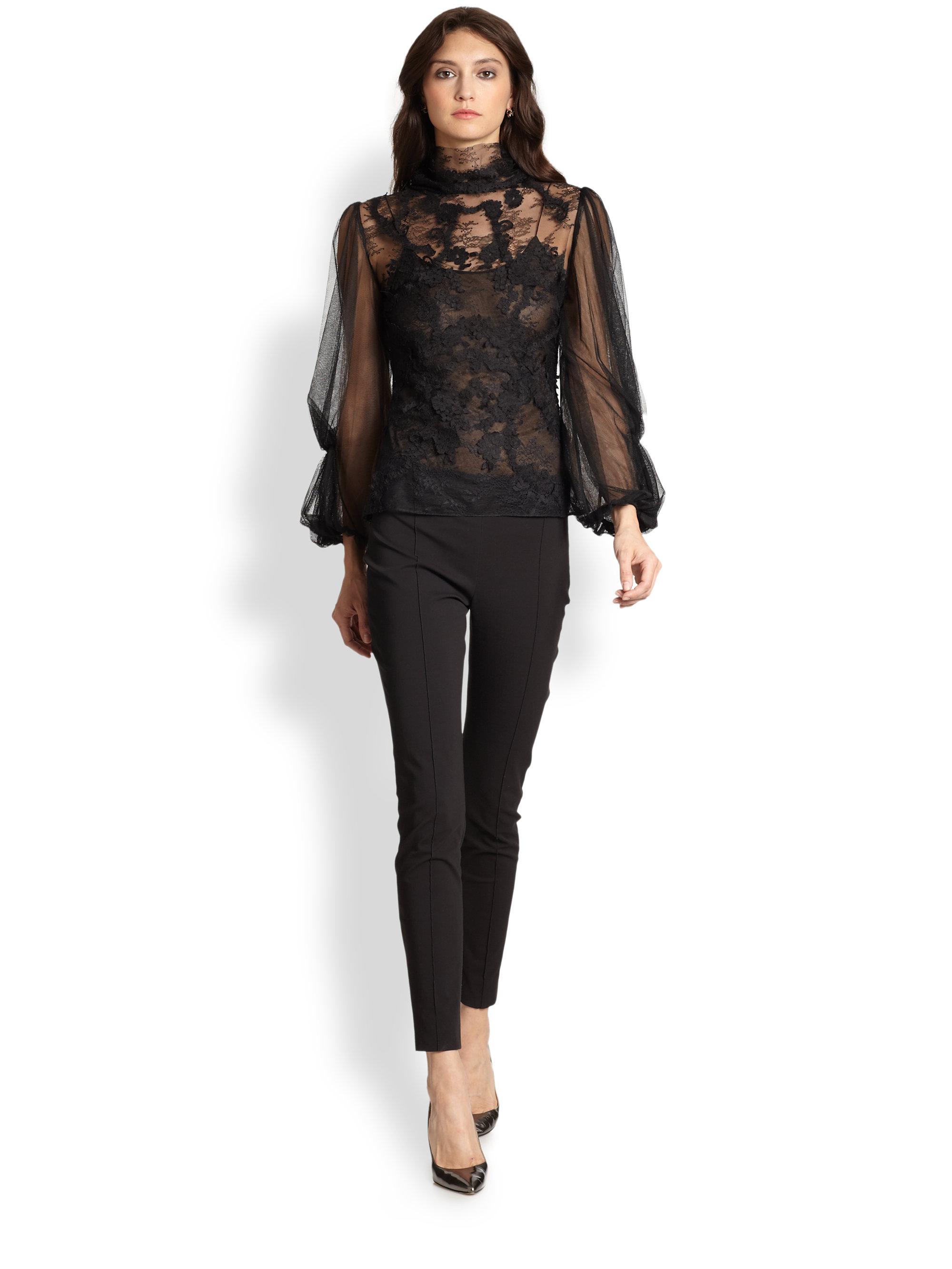 8386611d8a9 Long Sleeve Black Lace T Shirt - DREAMWORKS
