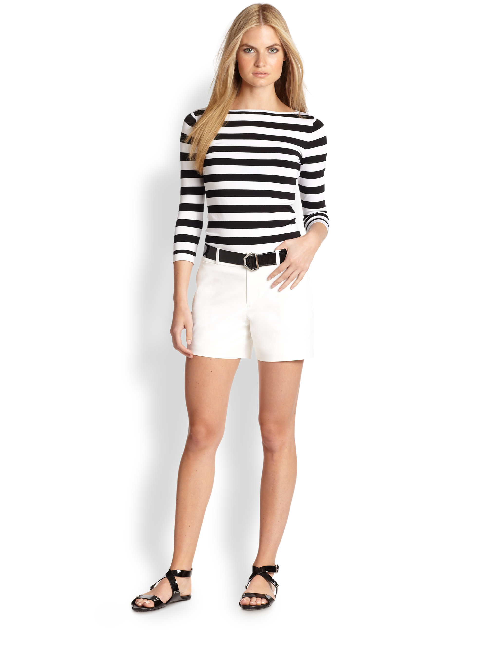 9ce369ff7f Ralph Lauren Black Label Stripe Boatneck Top in Black - Lyst