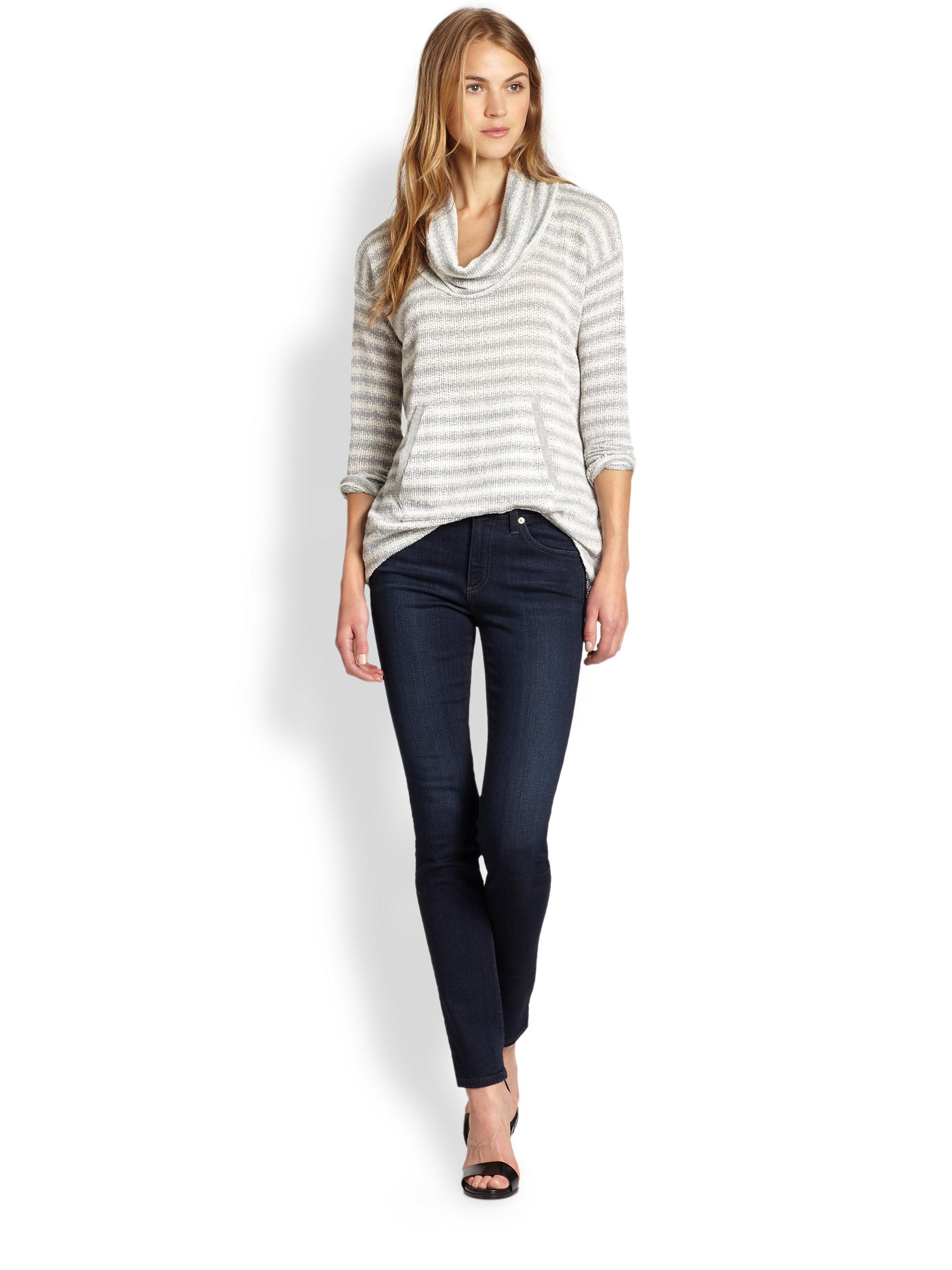Splendid Antwerp Striped Cowlneck Sweater in Gray | Lyst