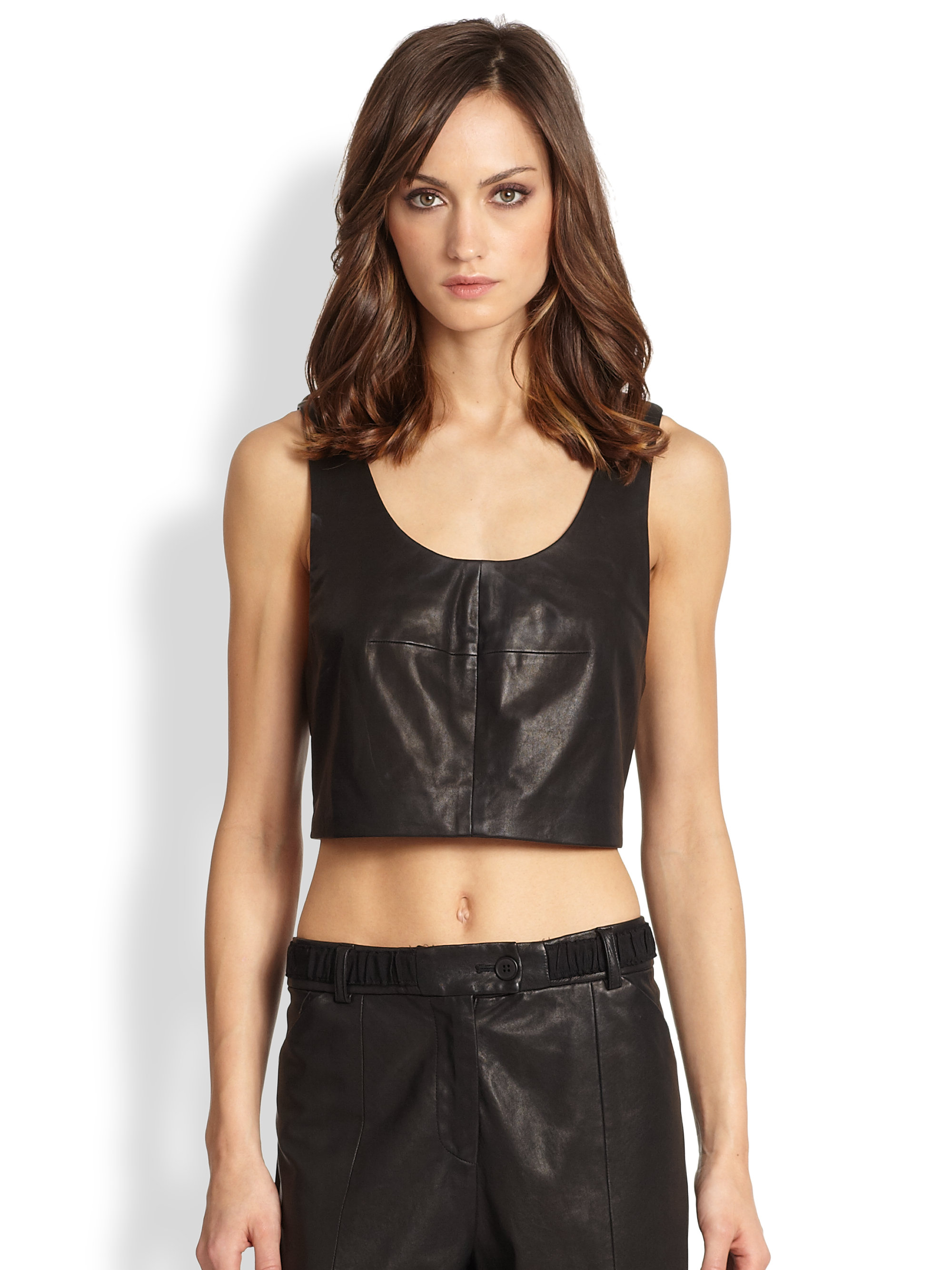 Tank Top Fashion Model New Tip Tumblr Girl Tumblr: Thakoon Addition Cropped Leather Tank Top In Black